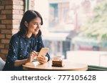 beautiful cute asian young... | Shutterstock . vector #777105628
