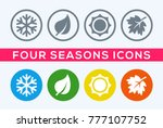 a set of four seasons icons.... | Shutterstock .eps vector #777107752