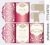 die laser cut wedding card... | Shutterstock .eps vector #777118732