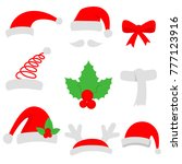 three red santa hats and...   Shutterstock .eps vector #777123916