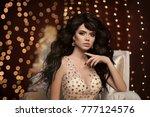 fashion attractive brunette...   Shutterstock . vector #777124576