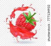 raspberry in berry juice splash.... | Shutterstock .eps vector #777134932