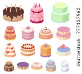cake and dessert cartoon icons... | Shutterstock .eps vector #777137962