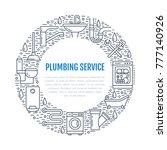 plumbing service blue banner... | Shutterstock .eps vector #777140926