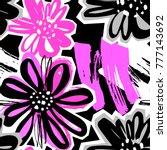 flowers seamless hand craft... | Shutterstock .eps vector #777143692