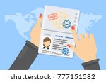 visa of woman. hands holding... | Shutterstock .eps vector #777151582