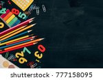 top view of composition of... | Shutterstock . vector #777158095