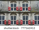 red shutters at the gothic city ... | Shutterstock . vector #777162412