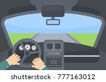 inside the car. hands on the... | Shutterstock .eps vector #777163012