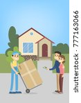 moving to a new house and... | Shutterstock .eps vector #777163066