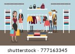 woman at clothing store buying... | Shutterstock .eps vector #777163345