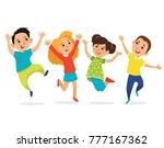 happy school multiracial... | Shutterstock .eps vector #777167362