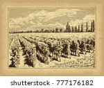 hand drawn landscape. antique... | Shutterstock .eps vector #777176182
