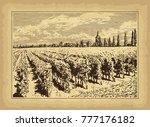 hand drawn landscape. antique... | Shutterstock .eps vector #777176182