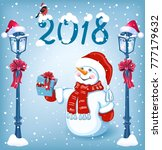 christmas card with funny... | Shutterstock .eps vector #777179632