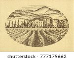 hand drawn landscape. antique... | Shutterstock . vector #777179662