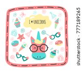 cute hand drawn cards with a... | Shutterstock .eps vector #777189265