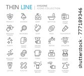 collection of hygiene thin line ... | Shutterstock .eps vector #777189346