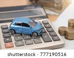 car with calculator and money... | Shutterstock . vector #777190516