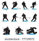 hockey silhouettes. vector... | Shutterstock .eps vector #77719072