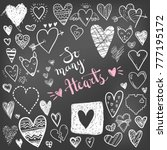 funny doodle hearts icons... | Shutterstock .eps vector #777195172
