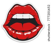 pop art women mouth with opened ... | Shutterstock .eps vector #777201652