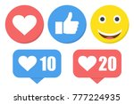 funny flat style emoji emoticon ... | Shutterstock .eps vector #777224935