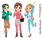 cute happy girls friends with... | Shutterstock .eps vector #777226372