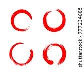 red circle zen  sumi e ... | Shutterstock .eps vector #777234685