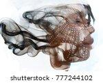 double exposure of dark skinned ...   Shutterstock . vector #777244102