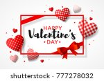 Happy Valentine's Day greeting card design with frame, gift bow and different patterns hearts, vector illustrtation | Shutterstock vector #777278032