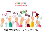 carnival banner with hands... | Shutterstock .eps vector #777279076