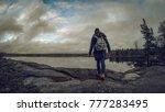 a girl walking on the rocks...   Shutterstock . vector #777283495