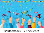 carnival banner with hands... | Shutterstock .eps vector #777289975