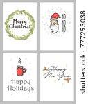 premade christmas postcards ... | Shutterstock .eps vector #777293038