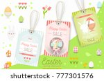 easter sale tags with rabbits... | Shutterstock .eps vector #777301576
