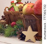wooden christmas star and... | Shutterstock . vector #777301732