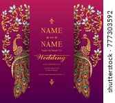 indian wedding invitation card ... | Shutterstock .eps vector #777303592