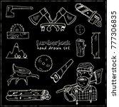 hand drawn doodle lumberjack...   Shutterstock .eps vector #777306835