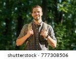 handsome bearded male... | Shutterstock . vector #777308506