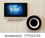 gdpr text on tablet screen   Shutterstock . vector #777311752