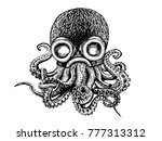 graphical octopus in a helmet... | Shutterstock .eps vector #777313312