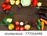 vegetables  on a dark wooden... | Shutterstock . vector #777316498