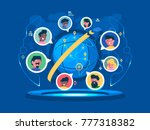 global communication worldwide. ... | Shutterstock .eps vector #777318382