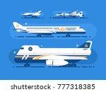 aircraft types set. passenger... | Shutterstock .eps vector #777318385