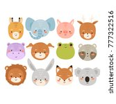 big set of cute cartoon animals.... | Shutterstock .eps vector #777322516