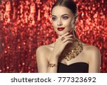 beautiful girl with set jewelry ... | Shutterstock . vector #777323692