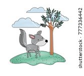 wolf cartoon in outdoor scene... | Shutterstock .eps vector #777336442