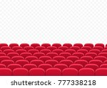 rows of red cinema or movie...   Shutterstock .eps vector #777338218