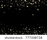 golden tinsel flying confetti.... | Shutterstock .eps vector #777338728